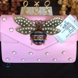Gucci Pink Bee Broadway Pearl Studded Leather Bag